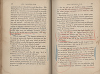 Page 28 and 29 of Billy DeBeck's copy of <em>His Vanished Star</em> by Mary Noailles Mufree, 1894. Marginalia by DeBeck.
