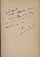 Inscription to Hunter Stagg by Carl Van Vechten in Stagg's copy of <em>The Weary Blues</em> by Langston Hughes, 1926.