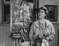 pollak_photo by J O Fitzgerald Jr 1948 in her studio rear of 908 w franklin with painting of monroe park_002.jpg
