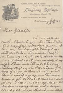 Letter from James Branch Cabell to his grandfather, Robert Gamble Cabell (1809-1889), July 25, 1888.