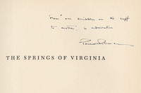 Inscription to James Branch Cabell by Perceval Reniers of Cabell's copy of <em>The Springs of Virginia; Life, Love and Death at the Waters, 1775-1900</em> by Perceval Reniers, 1941.