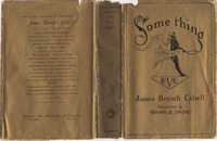 Dust jacket of James Branch Cabell's copy of <em>Something About Eve; A Comedy of Fig-leaves</em> by James Branch Cabell, 1929 illustrated edition.