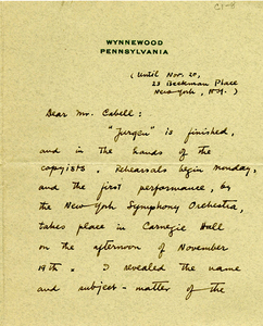 "Letter from Deems Taylor to James Branch Cabell upon completion of ""Jurgen"""