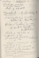 Notations by Larry Levis on verso of the inside of the back cover of Levis' copy of <em>Camera Lucida:</em> <em>Reflections on Photography</em> by Roland Barthes, 1981.