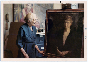 Adèle Goodman Clark with portrait of Maud Wood Park, May 1970