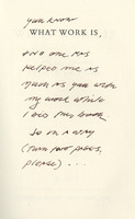 Second page of inscription by Philip Levine on half title page in Larry Levis' copy of <em>What Work Is: Poems</em> by Philip Levine, 1991